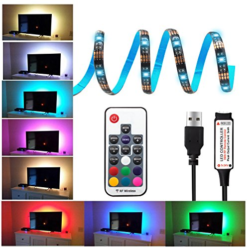 20 Colors USB LED Strip Light Flexible TV Bias Lighting Accessories Backlight RGB Lights 5V with Remote Control Multi Color Light