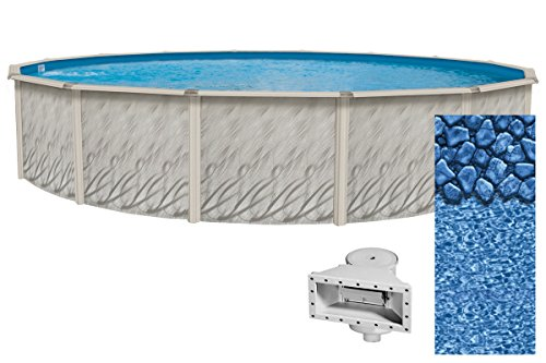 Wilbar Meadows Reprieve 27-Foot Round Above-Ground Swimming Pool | 52-Inch Height | Resin Protected Steel-Sided Walls | Bundle with Bedrock Pattern 25 Gauge Overlap Liner and Widemouth Skimmer