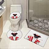 lacencn Pug Printed Bath Rug Set Going to the Movies Pug Dog Popcorn Soft Drink Movie Star Glasses Animal Fun Image 3 Piece Toilet Cover set Cream Red Black