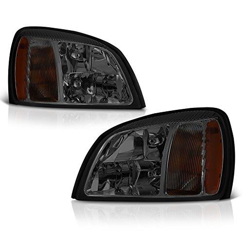 VIPMotoZ 2000-2005 Cadillac Deville Headlights - Metallic Chrome Housing, Smoke Lens, Driver and Passenger Side