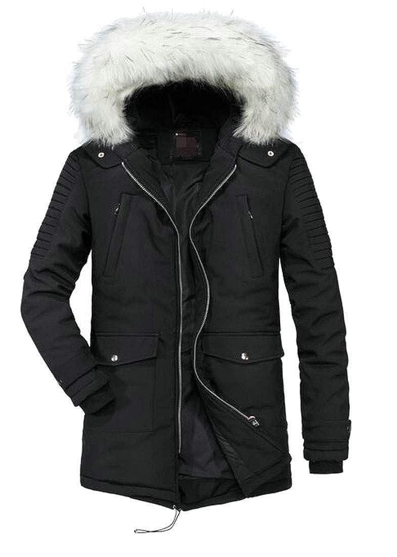 Hajotrawa Men Overcoat Faux Fur Hood Thicken Warm Winter Stand Collar Parkas Coat