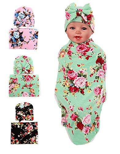 Gellwhu Baby Blankets, Newborn Baby Sleep Swaddle Blanket, Newborn Baby Beanie Hat, Pack of 3 Sets GH0154