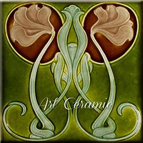Art Nouveau Ceramic Tile 6 Inches Reproducction #273
