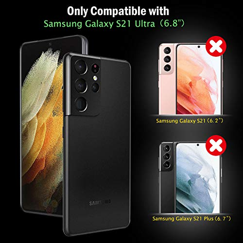 Anti-Scratch,Compatible Fingerprint Unlock Not Tempered Glass for Samsung Galaxy S21 Ultra 5G 6.8 with 2 Packs Camera Lens Protector,Flexible TPU Hydrogel Film,HD QHOHQ 2 Pack Screen Protector