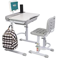 Kids Desk,70CM Lifting Kids Desk and Chair Set Height Adjustable Students Study Table WithTiltable Anti-Reflective Tabletop, Kids Desk with Reading Stand and Drawer