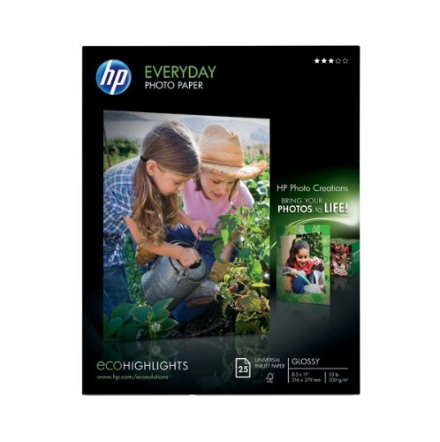 HP Glossy Everyday Photo Paper, 25 Sheets, 8.5 x 11 inches (Q5498A) (Photo Everyday Glossy Paper)