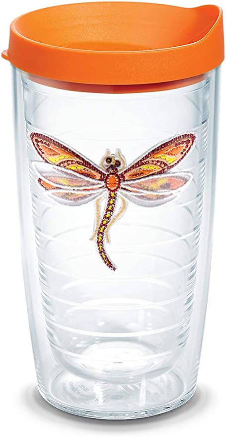 Clear Tervis 1254468 Purple Teal Seahorse Tumbler with Emblem and Purple Lid 24oz Water Bottle