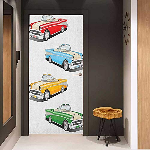 Automatic Roadster - Onefzc Automatic Door Sticker Manly Collection of Four Classic Car Roadsters Old Fashioned Transportation Illustration Easy-to-Clean, Durable W23.6 x H78.7 Multicolor