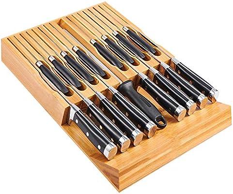 utoplike in-drawer organizador de cuchillos para cajón (madera de bambú, 12 cuchillos y soporte, ajuste para 12 cuchillos y un afilador de acero de...