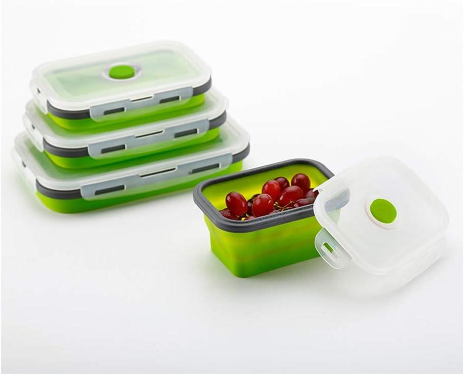 SaraCloth Fiambrera de silicona plegable para almacenamiento de alimentos en campamentos, 3 unidade(Verde)