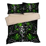Fabulous Green Skull Cotton Microfiber 3pc 104''x90'' Bedding Quilt Duvet Cover Sets 2 Pillow Cases King Size