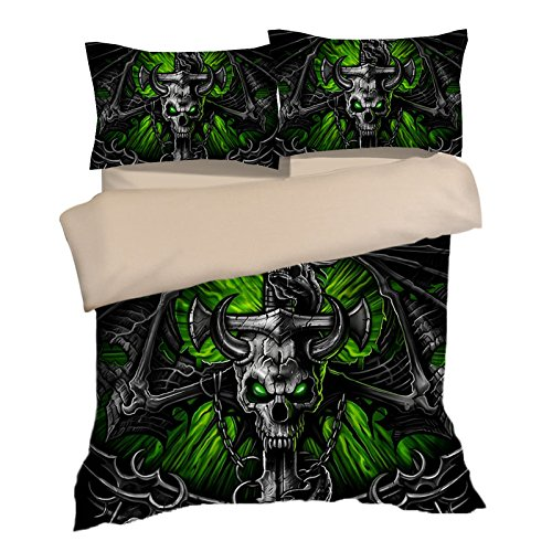 Fabulous Green Skull Cotton Microfiber 3pc 90''x90'' Bedding Quilt Duvet Cover Sets 2 Pillow Cases Queen Size by DIY Duvetcover