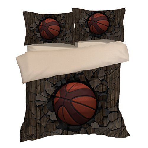 Customized Wood 3D Basketball Cotton Microfiber 3pc 104''x90'' Bedding Quilt Duvet Cover Sets 2 Pillow Cases King Size by DIY Duvetcover
