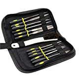 DIYNP 12pc Mini Assorted Wood Rasp Set Steel Needle Files Trimming File with Brush, Parts Box and Storage Box