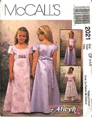 McCall's Sewing Pattern 2021 Girls Size 4-5-6 Alicyn Formal Flower Girl Long Empire Waist Dress]()