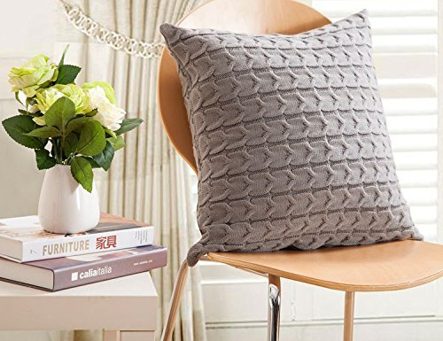 cottontex cotton knitted decorative cushion cover cable pattern 175 by 175 inch grey