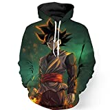 PIZZ ANNU Neutral Long Sleeve 3D Printed Cartoon Dragon Ball Series Pullover Hooded Sweater Coat (0652, XL)