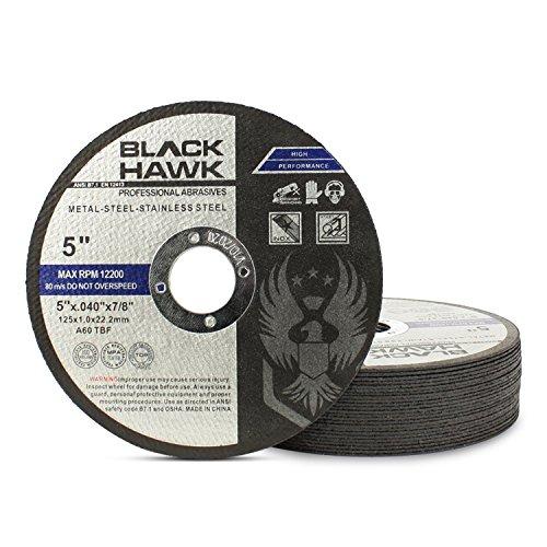 25 Pack Black Hawk 5'' x .040 x 7/8'' Arbor Metal & Stainless Steel Cut Off Wheels - Ultra Thin Discs