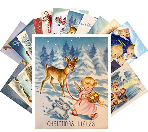 Vintage Christmas Greeting Cards 24pcs Little Angels Christmas Prayer REPRINT Postcard Pack (Angel Christmas Postcard)