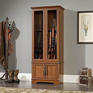 if you have only a little amount of space then you will need to look for a small to medium sized wooden gun cabinet so that it does not take more space