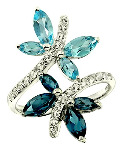 RB Gems Sterling Silver 925 Ring GENUINE GEMSTONE DRAGONFLY Design with Rhodium-Plated Finish (6, swiss-blue-topaz) - Topaz Ring Marquise