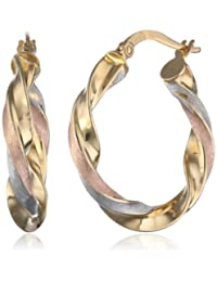 10k Gold Italian Tri-Color 11mm Twisted Hoop Earrings