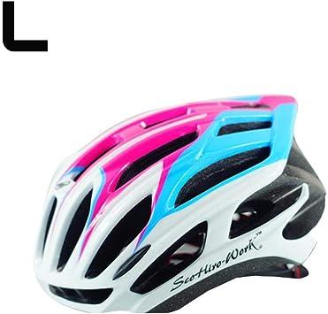 GWMasket Prevail Mujer/Hombre Casco de Bicicleta Casco de Bicicleta MTB Bike Mountain Road Bicicleta Casco Ciclismo capacete, Rosa y Azul, Medium: Amazon.es: Deportes y aire libre