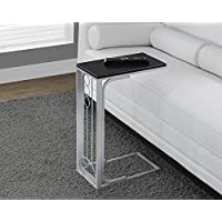 Monarch Specialties Black Top/Silver Metal Accent Table