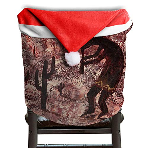 Santa Chair Covers Clause Red Hat Chair Back Covers Kitchen Chair Covers Sets for Christmas Holiday Festive Decor - Native American Art Kokopelli (Native American Art Impression)