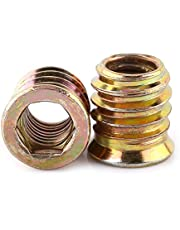 Galvaniserat kolstål insexskruv för insexnyckel för möbler hex drivsmutter trä insättningsmtrar M6/M8/M10, helgängad