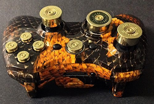Photo - Microsoft Xbox 360 Wireless Controller+Brown Snake Skin Custom Shell+9mm Brass Abxy Bullet Buttons+45cal Guide+20g Brass Shotgun Shells Analog Thumbstick+12g Shotshell D Pad+Free Expedited Shipping