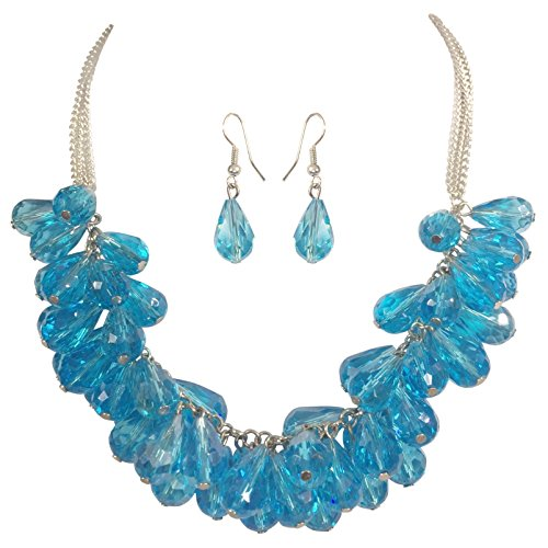 - Glass Teardrop Cluster Beads Chunky Statement Necklace & Dangle Earrings Set (Aqua Blue Silver Tone)