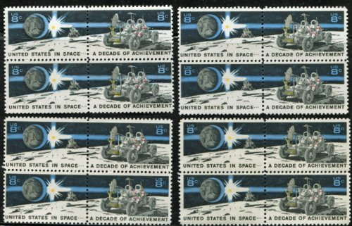 A DECADE OF ACHIEVEMENT IN SPACE ~ THE EAGLE MOON LANDING CRAFT & THE LUNAR ROVER #1435b LOT OF 4 BLOCKS OF 4 X 8¢ US POSTAGE STAMPS (16 TOTAL STAMPS)