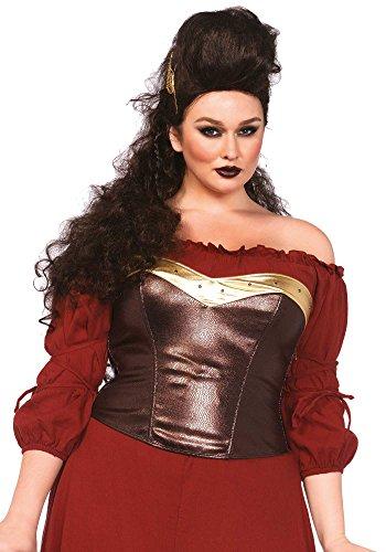 [Leg Avenue Women's Plus-Size Armor Bustier Costume Accessory, Brown, 3X/4X] (Plus Size Costumes 4x)