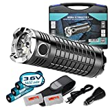 Olight SRMini SR Mini Intimidator II 3200 Lumens Rechargeable Flashlight Kit w/ 3x 3400mAh 18650 Batteries, Olight USB Charging Cable, Car Power Adapter, Holster and Two Lumentac Battery Organizer