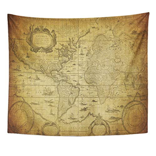 (Emvency Decor Wall Tapestry Old Vintage Map of The World 1635 Antique Ancient Europe Parchment Wall Hanging Picnic for Bedroom Living Room Dorm 60x50 Inches)