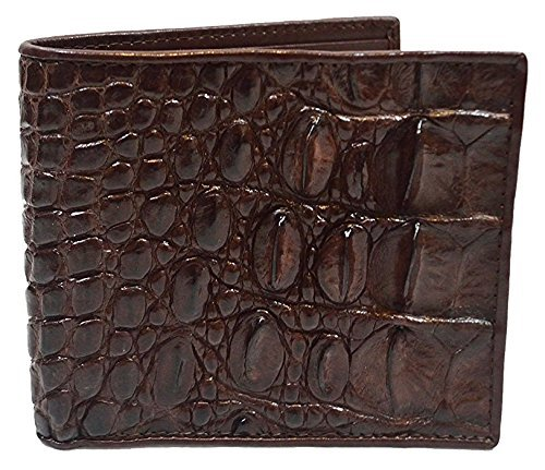 Authentic M Crocodile Skin Men's Bifold Backbone Leather Dark Brown (Exotic Skin Wallets)