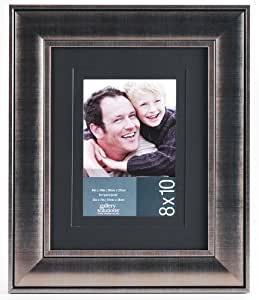 Gallery Solutions Silver Frame with Black Double Mat, 8 by 10-Inch Matted Opening to Display 5 by 7-Inch Photo