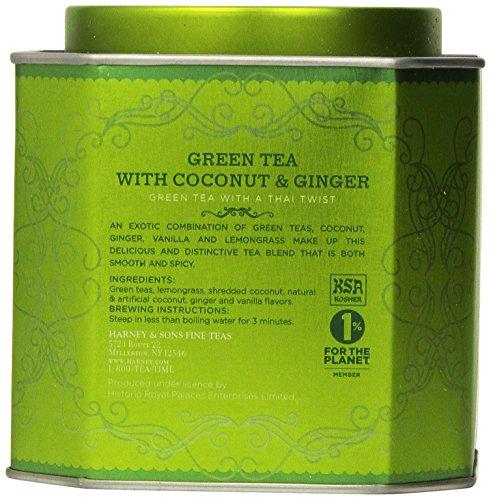 Harney & Sons Green Tea with Coconut, Ginger and Vanilla, 30 Sachets, 2.67 oz (75 g) 3 Fine Teas Master Tea Blenders Green Tea with Thai Twist
