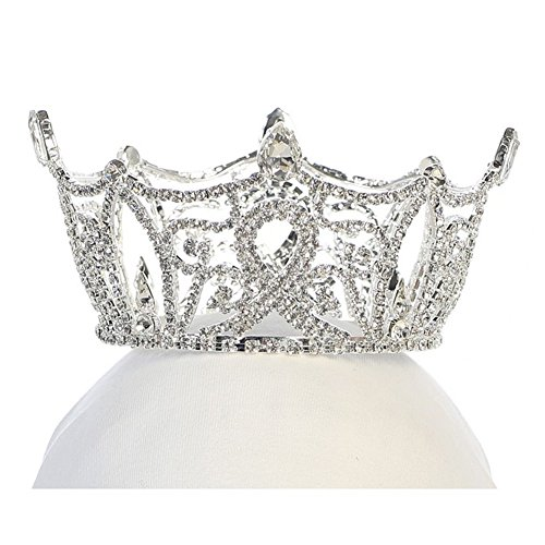 Angels Garment Girls Silver Tone Rhinestone Crown Tiara Headpiece by Angels Garment