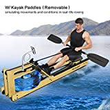 Mr Rudolf Oak Wood Water Rowing Machine with Monitor W/Bonus Rowing Machine Cover W/Bonus Kayak Paddles Home Gyms Training Equipment Sports Exercise Machine Fitness Indoor...