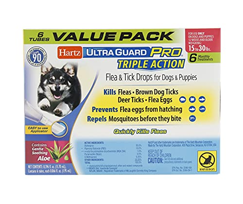 Hartz UltraGuard Pro Topical Flea & Tick Prevention for Dogs and Puppies, 15-30 lbs 6 Monthly Treatments