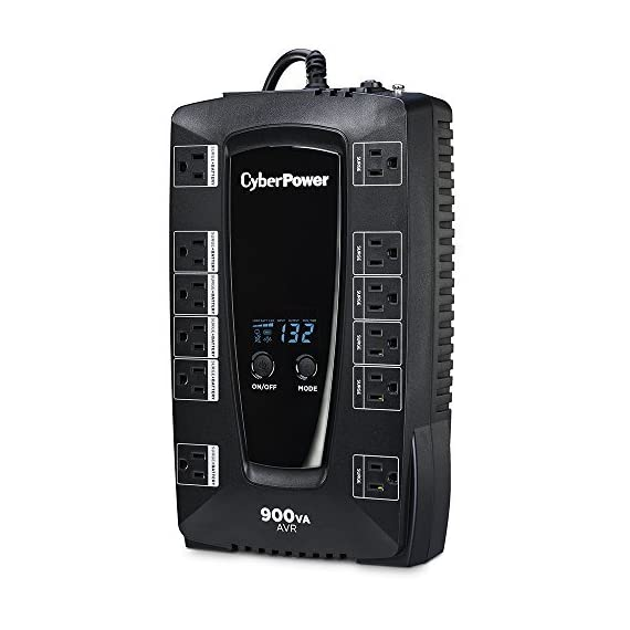 CyberPower AVRG900LCD 900VA UPS with LCD Display 1 750VA/450W AVR Battery Backup Uninterruptible Power Supply (UPS) System 12 NEMA 5-15R OUTLETS: (6) Battery Backup & Surge Protected Outlets, (6) Surge Protected Outlets safeguard desktop computers, workstations, networking devices and home entertainment equipment DATA LINE PROTECTION: Prevents power surges that travel through telephone, coaxial and Ethernet lines from causing damage to electronics