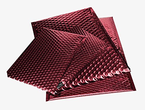 Padded Bubble Mailers - Self Seal Open End Envelope, CD Size (7'' x 6 3/4'') - Metallic Red - 250 Envelopes per Pack by PackagingSuppliesByMail