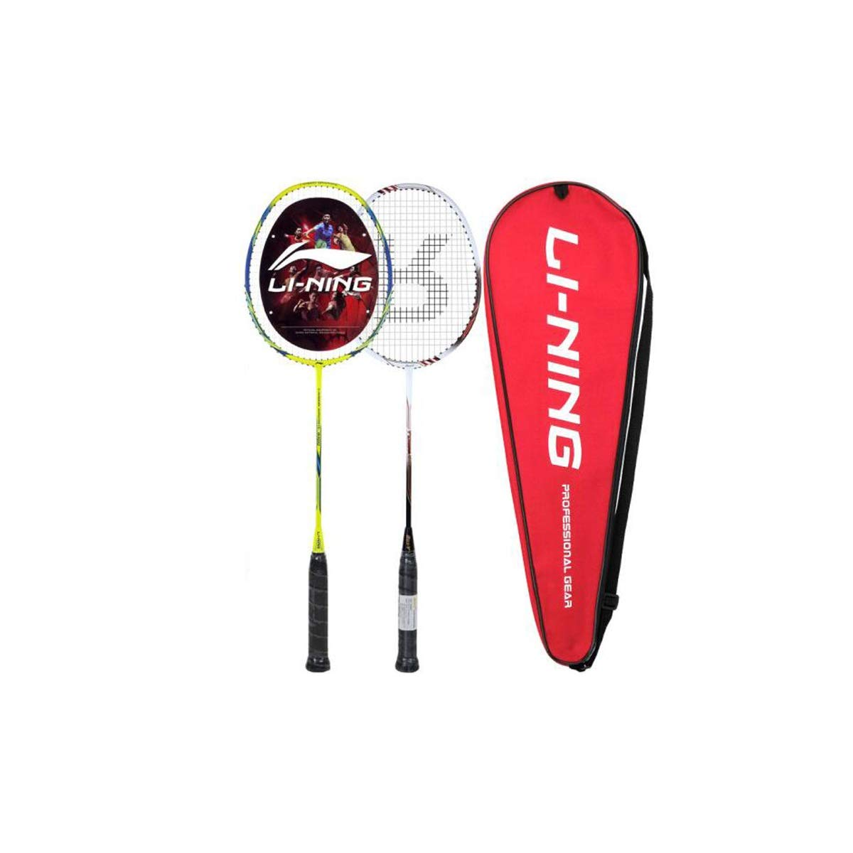 Tongboshi Full Carbon Badminton Racket, On The Beat, 2 Double Shot Set Ultra Light Beginner, Competition, Training, White, Yellow, White + Yellow (has Threaded) Badminton Racket, (Color : Yellow) by Tongboshi (Image #1)