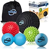"Deep Tissue Massage Ball Set - Includes 5"" Foam Roller Mobility Ball, Double"