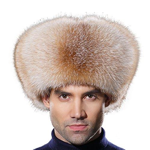 URSFUR Winter Men Fur Hat Real Fox Fur Russian Ushanka Trapper Cap Golden by URSFUR