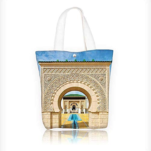 Canvas Zipper Tote Bag Printed Traditial Moroccan Architecture in African Islamic East Style with Carving Reusable Canvas Zipper Tote Bag Printed 100% Cotton W11xH11xD3 INCH by Jiahonghome