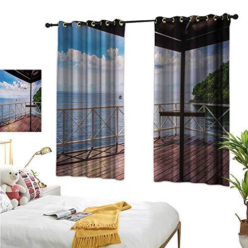 Warm Family Long Curtains Modern,Balcony Porch Sea Ocean View in Trinidad and Tobago Island Tropic Photo Image Art,Multicolor 54