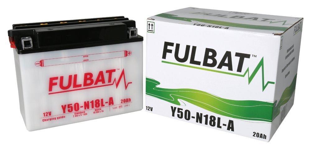 Baterí a FULBAT Y50-N18L-A 12V 20Ah 260A Largo: 205 x Ancho: 90 x Alto 162 (mm)